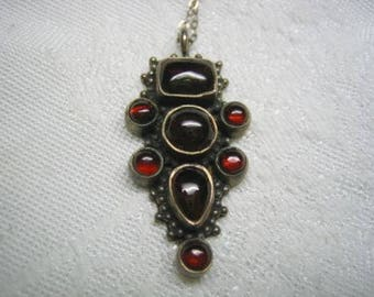 Art Nouveau Antique Garnet Cabochon Sterling Pendant
