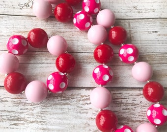 Valentines Day Chunky Bubblegum Necklace, Toddler Girl Pink and Red Polka Dot Chunky Necklace, Girls Valentine Bracelet, Jewelry for Kids