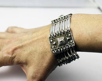 Elegant Antique Sterling Silver Taxco Mexico Bracelet