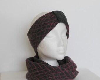 Headband Soft Merino Lambswool Coal Grey with Coal Grey Mid Band