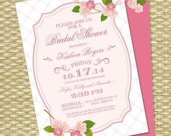 Spring Bridal Shower Invitation, Cherry Blossoms Wedding Shower Spring Floral Bridal Brunch Bridal Tea, ANY EVENT