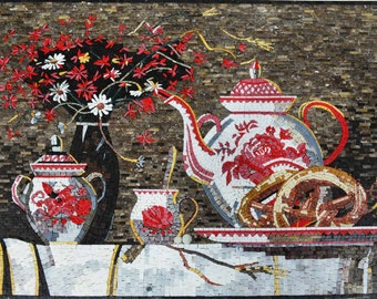 Mosaic Designs- Pink Tea Kettle