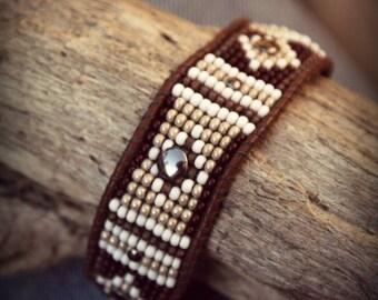 Indian, Bracelet leather bracelet woven Bracelet, Bracelet, Bracelet beads woven Cuff Bracelet, Boho Bracelet, gift