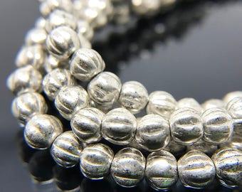 Antique Silver Czech Glass Melon Beads, Small Aged Silver Glass Melon Beads, Round Silver Czech Glass Beads, 4mm - 50 beads (MEL-20)