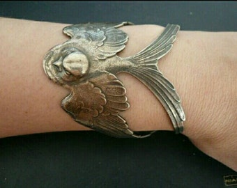 c1910 enchanting Art Nouveau Swallow Bird Cuff Bracelet with original patina.  Fits all. Genuine antique.