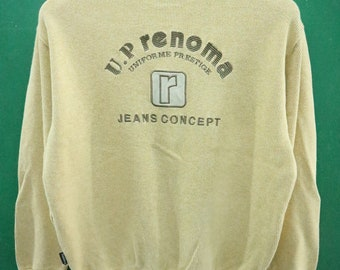 Vintage UP Renoma Uniforme Prestige Jeans Concept Sweatshirt Embroidery Big Spell Out  Street Wear Urban Fashion Sweater Size M