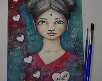 Mixed Media portrait of a girl