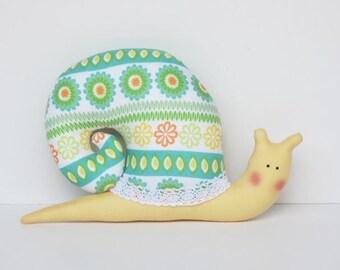 Softie plush snail toy stuffed snail handmade green yellow soft snail toy for little children boy girl nursery decor and baby shower gift