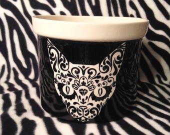 Large Black Tribal Sugar Skull Cat Kitten Kitty Flower Pot Planter Handmade OHIO USA Ceramic Pottery