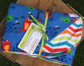 Pond friends Double layer flannel baby blanket. Ready to ship