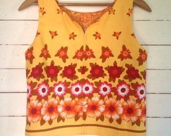 summer shirt sleeveless top - easy fit Medium - yellow floral bohemian