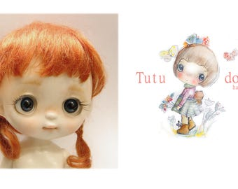 Tutu's real mohair wig,red color,7-8 size.