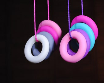 Silicone Teething Ring Necklace  No BPA with a breakaway clasp