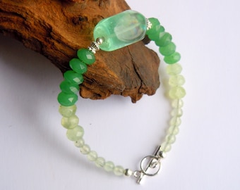 Fluorite, emerald and prehnite bracelet with sterling silver