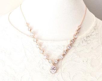 Rose Gold Wedding Necklace, Rose Gold Rhinestone Necklace, Wedding Jewelry, CZ Cubic Zirconia Bridal Necklace, Pink Gold Bridal Jewelry