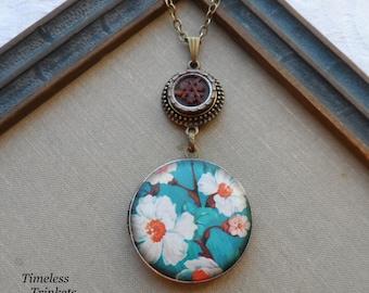 50% Off Antique Button Locket Necklace- Cherry Blossom
