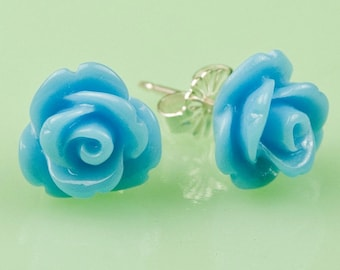 Turquoise  Rose Button Post Earrings