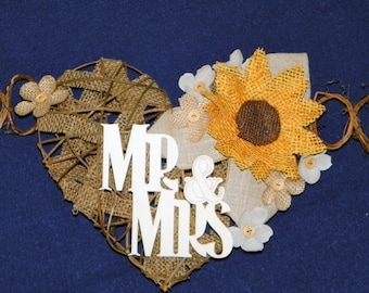 Mr & Mrs. Burlap Sunflower 11 Ft Grapevine Heart with Lace, Burlap and Linen Flowers Backdrop for Wedding, Swag, Banner Bride and Groom