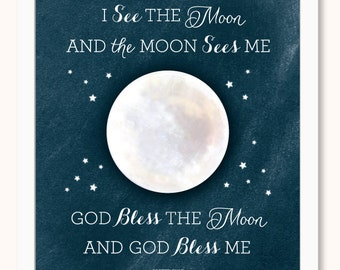 I See the Moon Print - Bless Me - God Bless Me - Nursery Art - Baby Art - Pink - Blue - Night - Moon - Stars - Kids - Wall Art