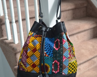 "African print Fabric and Leather draw string bag- ""Omolade"" Collection-"