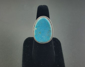 Natural Kingman turquoise ring - Navajo ring - sterling silver - size 9