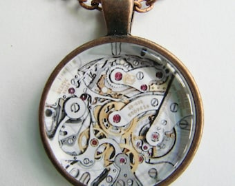 STEAMPUNK WATCH MECHANISM Necklace -- Timepiece necklace, Technology art, Gears, cogs and tiny wheels, Friendship token