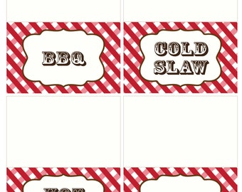 Adobe Reader Editable Food Tent Cards - INSTANT DOWNLOAD