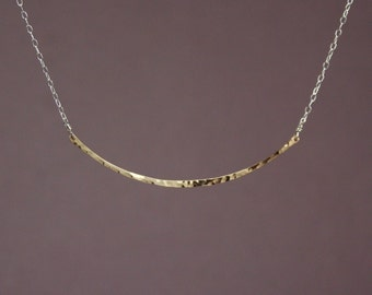 Two Tone Bar Necklace - Gold Hammered Bar necklace with Sterling Silver Chain, Adjustable necklace, gold and silver necklace