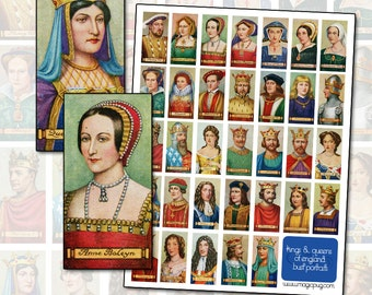 Antique Kings and Queens of England digital collage sheet domino pendant Henry VIII 25mm x 50mm 1x2 inch  Anne Boleyn Eleanor of Aquitaine