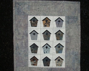 Gray Birdhouse Quilted Wall Hanging
