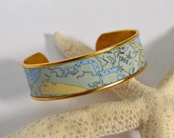 Nautical Jewelry Nautical Bracelet Nautical Cuff Nautical Chart Preppy Jewelry Preppy Bracelet Map Jewelry Personalized Bracelet