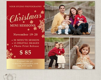 Christmas Mini Session Template - Photography Marketing Board - Christmas Minis - Photoshop Template 099 - C310, INSTANT DOWNLOAD