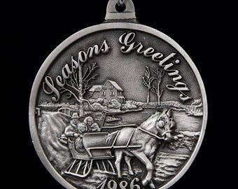 1986 Black and Decker Seasons Greeting Pewter Christmas Ornament
