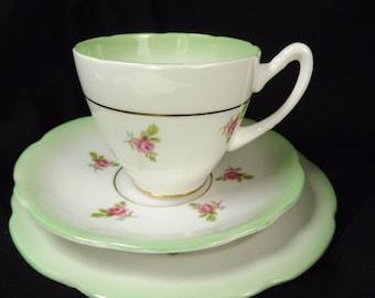Teacup, Saucer , Plate Vintage Gladstone Pretty Green Trim, Unused