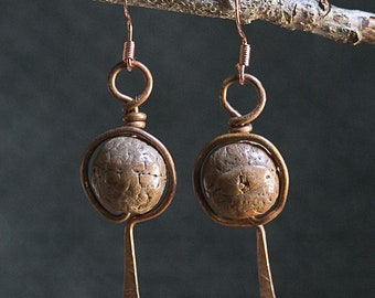 Unique. One-of-a-kind. Copper Wire & Bead Earrings. 16 ga. Free U.S. Shipping. Handmade.