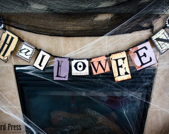 Halloween Banner - Printable Steampunk Halloween Decoration - AB -Instant Download