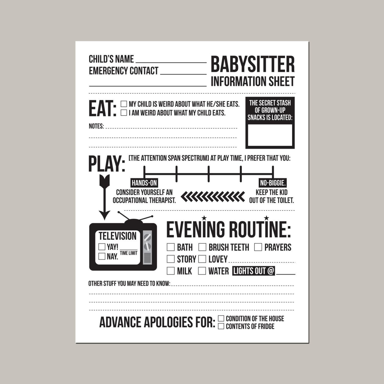 babysitter info sheet printable - Romeo.landinez.co