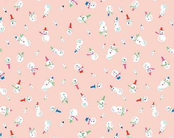 Way Up North Snowman Peach - Riley Blake Designs - Pink Christmas - Quilting Cotton Fabric - choose your cut