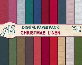 Digital Christmas Color Linen Paper Pack, 20 printable Digital Scrapbooking papers, winter Fabric Digital Collage, Instant Download, set 83