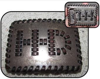 Vintage H-D Harley Davidson Belt Buckle Only, leather stitching