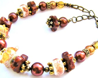 SALE Southwest Lampwork Glass Bracelet, Brown Red Amber Copper, FW Pearls, Beaded Statement Bracelet, Antiqued Brass, Ready To Ship Gift Box