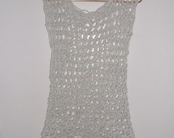 Hand Crochet Summer Top in WHITE, Swimsuit Cover Up, Sleeveless Mesh Festival Top, Loose Fitting Top, Pool Side Cover up,