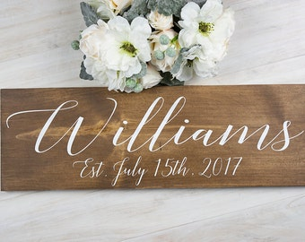 Bridal Shower Gift, Personalized Wedding Gift, Gift for Her, Gift for Bride, Wedding Gift, Engagement Gift, Last Name Sign, Gift for Parents
