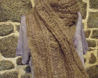 Lacy Brown mohair wool scarf