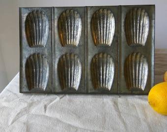 Vintage French Madeleine tray. Cake moulds, baking tin.
