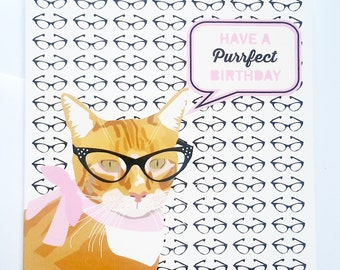 Ginger Cat Birthday Card - Have a purrfect birthday - Ginger cat with glasses