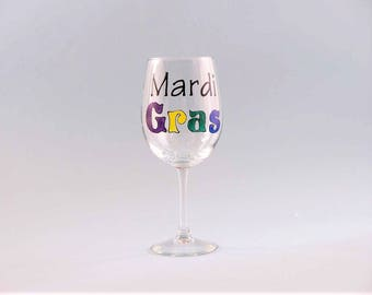 Hand Painted Mardi Gras Wine Glass - Colorful Mardi Gras Design - Painted Wine Glass
