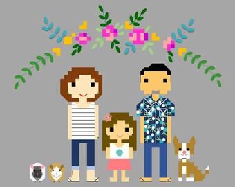 Cross Stitch PDF Pattern - Family Portrait