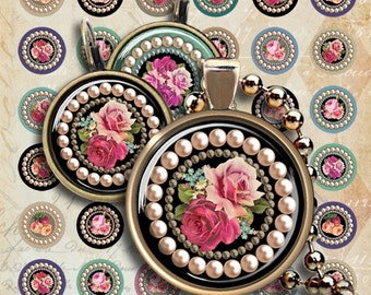 1 inch (25mm) and 12 mm size circles PEARLS AND ROSES Printable Digital Images for pendants and earrings downloadable collage sheet ArtCult