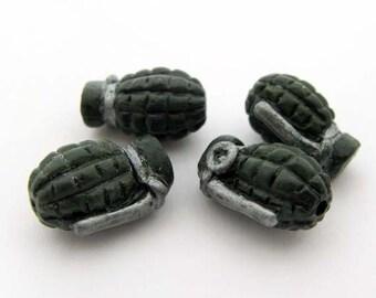 20 Tiny Grenade Beads
